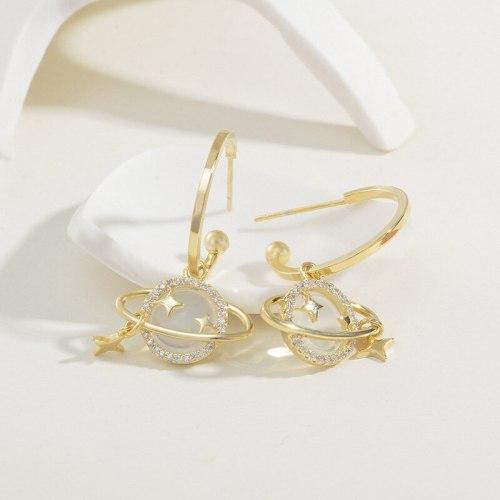 Korean Sterling Silver Needle Earrings Micro Inlaid Zircon Planet Starry Earrings Refined Wild Earrings Wholesale