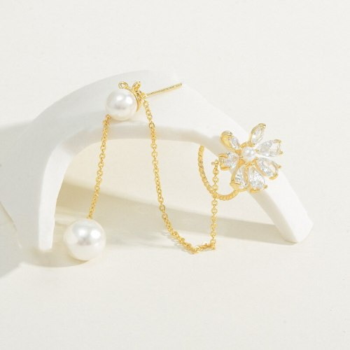 Sterling Silver Needle Petal Fringe Pearl Ear Bone Clip Non-Piercing Ear Clip Women's New Fashion Ear Studs Simple Earrings