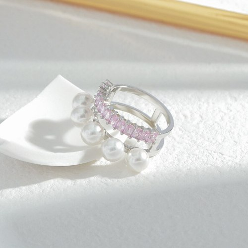 Korean Retro Geometric Pearl Ring Korean Ins Style Needle Closed Ring Girly Style Pearl Commuter Ring