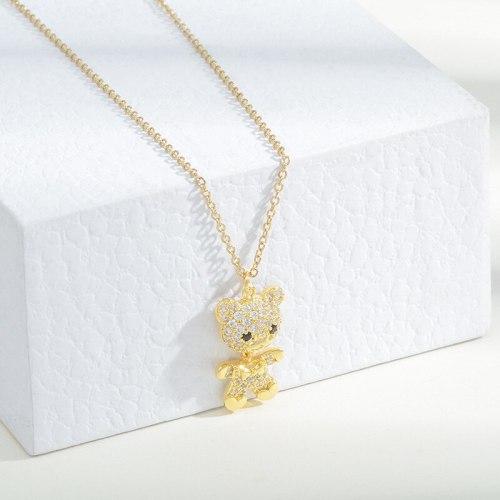 Korean Style Micro Inlaid Zircon Full Diamond Bear Necklace Female Ins Trendy Design Simple Fashion Girl Clavicle Chain