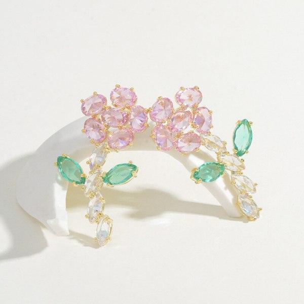 New Studs Heavy Industry Color Zircon Earrings Graceful Personality Sweet Flowers Stereo Earrings Sterling Silver Needle