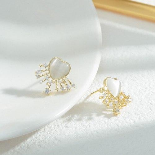 Sweet Girl Cute Opal Love Heart Earrings Korean Fashion Super Fairy All-Match Earrings Sterling Silver Needle Stud Earrings