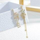 Sterling Silver Needle Love Letter Asymmetric Bear Ear Studs Women's Exquisite Light Luxury High-Grade Tassel Earrings Earrings