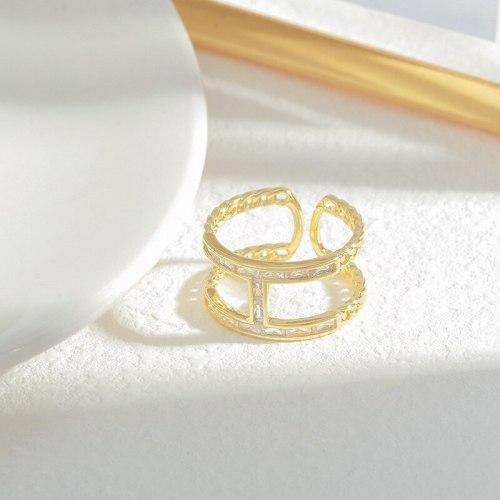 Exquisite Index Finger Ring Micro Inlaid Zircon Simple Bracelet Special Interest Light Luxury Adjustable Ring Irregular Ring