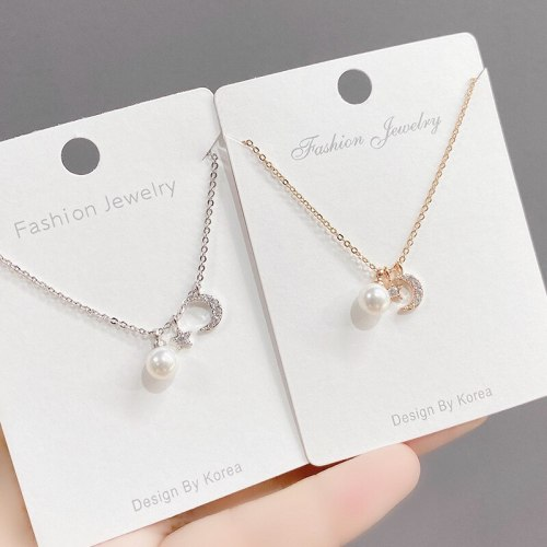 Korean Style Fashion New Zircon Moon Five-Pointed Star Necklace Female Clavicle Chain Temperament Wild Pearl Necklace