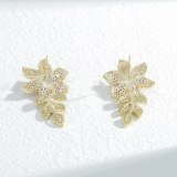 Micro-Inlaid Colorful Zircon Sterling Silver Needle Petal Stud Earrings Exquisite Light Luxury High-Grade Earrings