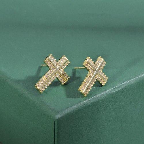 Sterling Silver Needle Three-Piece Set One Card Three Pairs of Stud Earrings Female Micro Inlaid Zircon Cross Earrings