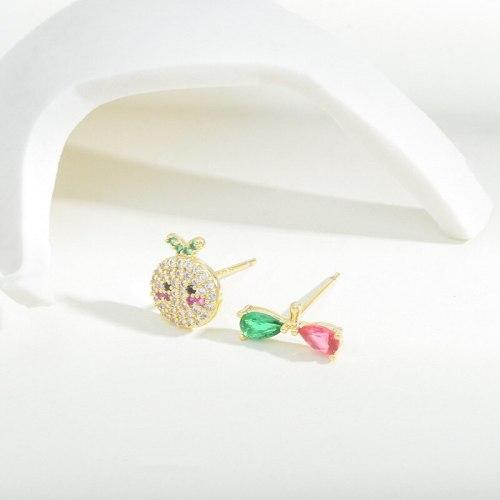 INS Style Cute Tropical Fruit Ear Studs Female Zircon Eardrops Earrings Internet Celebrity Ornament Wholesale