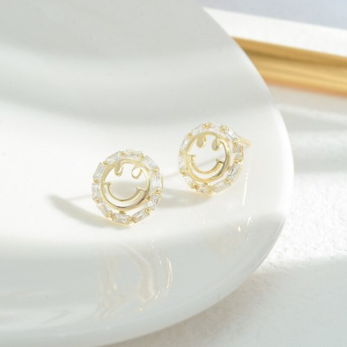 Korean Sterling Silver Needle Smiley Face Ear Studs Female Ins Hollow Jeweled Smile Exquisite Petite Earrings Earrings