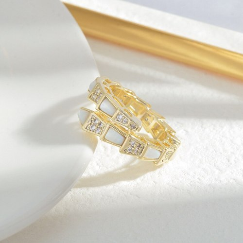 Micro Inlaid Zircon Full Diamond Shell Ring Personality Snake Bone Open Ring Special-Interest Design Index Finger Ring