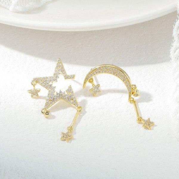 Korean Asymmetric Five-Pointed Star Moon Studs Silver Needle Sterling Silver Needle Earrings Fashionable All-Match Eardrops