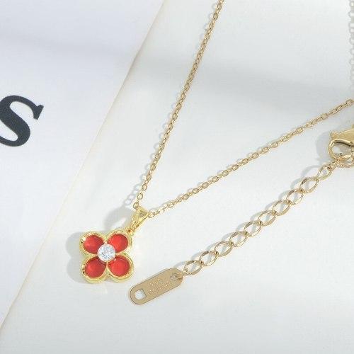 New Micro Inlaid Zircon Petal Necklace Female Niche Design Personality Fashion Short Necklace