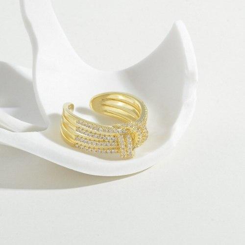 High-End Light Luxury Full Diamond Ring Zircon Super Flash Net Red Gang Drill Double Layer Ring Ins Korean Temperament Open