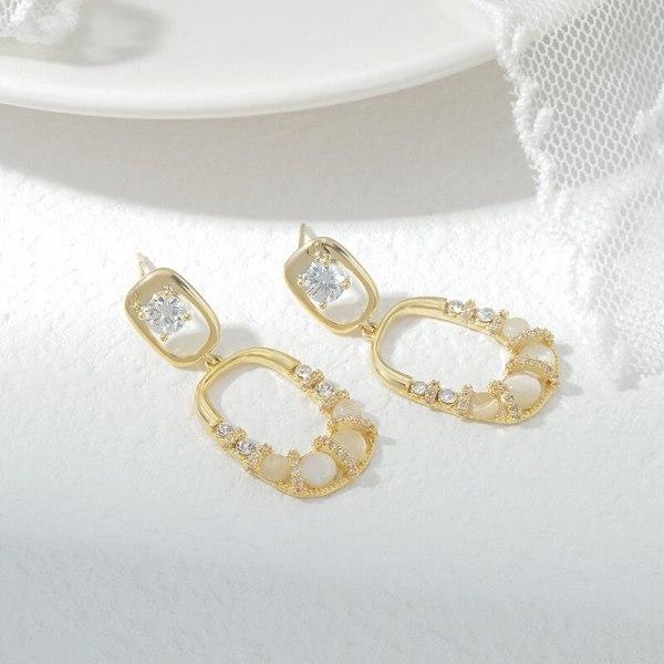Sterling Silver Needle Fashion Personality Earrings Women's Korean Geometric Ear Studs Simple Opal Earring Ornament