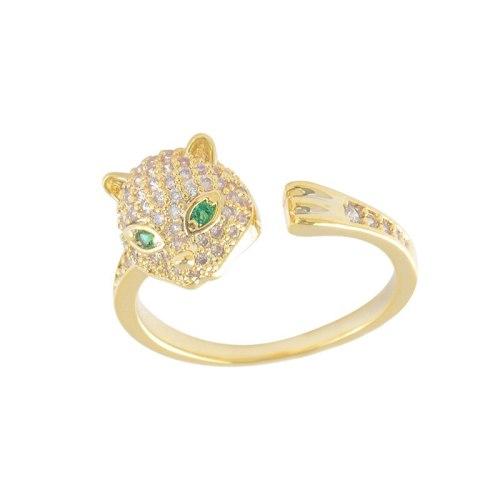 Classic Trendy Copper Micro Inlaid Zircon Leopard Ring Fashion Elegant Leopard Zircon Opening Leopard Head Ring