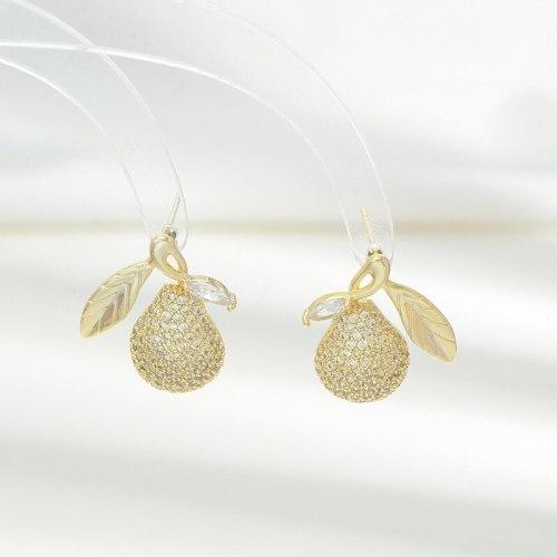 Summer Fruit Earrings Silver Pear Sterling Silver Needle Stud Earrings Female High Sense Ornament