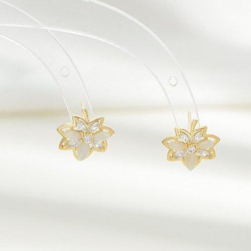 Leaf Zircon Stud Earrings for Women Sterling Silver Needle Small and Simple All-Match Earrings Temperament Opal Earrings
