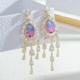 Fashion Zircon Tassel Earrings Female Sterling Silver Needle Earrings Earrings Jewelry