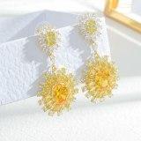 Fashion Sun Flower Ear Studs Women's Sterling Silver Needle Earrings Copper Zircon Earrings