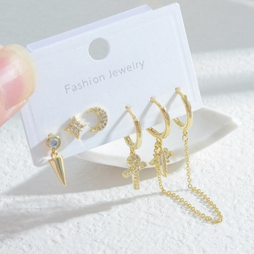 Korean Style Autumn and Winter New Female Student Three Pairs Storage Ear Studs Female Sterling Silver Needle Simple Earrings