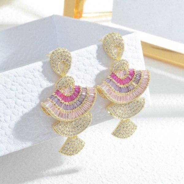 Colorful Zircon Small Skirt Earrings Sterling Silver Needle Earrings Three-Dimensional Gradient Pink Scallop Earrings