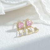 Korean Exquisite 925 Silver Needle Zircon Female Stud Earrings Three Pairs Earrings