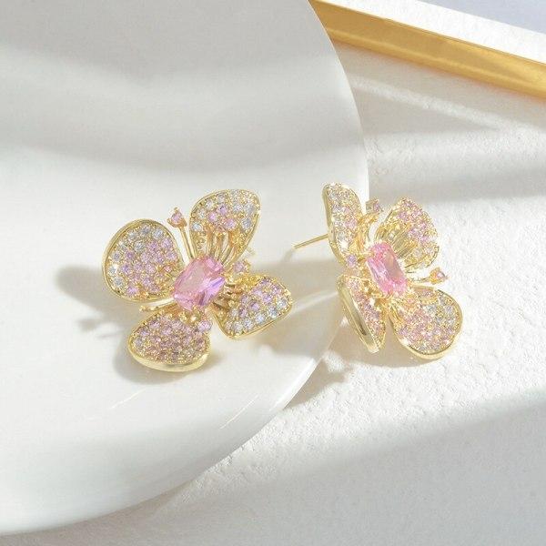 Inlaid Zircon Sterling Silver Needle Petal  Exquisite Light Luxury Female Earrings Elegant Figure Flattering Earrings