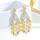 Zircon Tassel Earrings Female Sterling Silver Needle Three-Dimensional Peach Heart Earrings High Sense Entry Lux Earring Studs