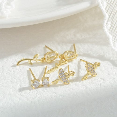 Exquisite 925 Silver Needle Micro Inlaid Zircon Female Stud Earrings Three Pairs of Earrings