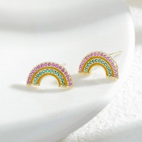 Sterling Silver Needle Three Pairs Rainbow Earrings Female Korean Zircon Earring Ornament Factory