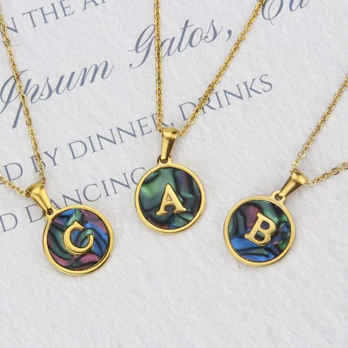 INS fashion Stainless Steel Round Shell 26 Letter Necklace Abalone Shell Gold English Titanium Steel Pendant