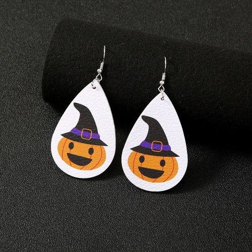 fashion New Creative Stud Earrings Female Personality Trend Pumpkin Leather Earrings Jewelry Wholesale