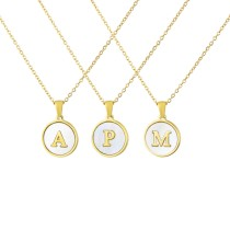 FashionCross Border New Stainless Steel Round Shell 26 Letter Necklace Simple Gold English Titanium Steel Pendant