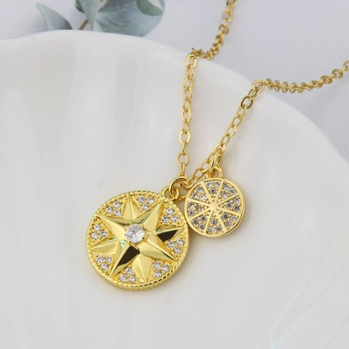 fashion Round Necklace Eight Awn Star Pendant Ornaments Female Inlaid Zirconium Copper Plating Necklace Female