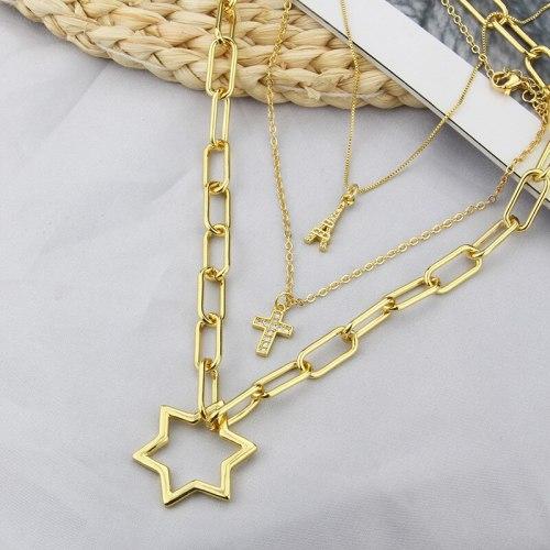 INS New Combination Titanium Steel Necklace Cross Tag Accessories Simple Pendant
