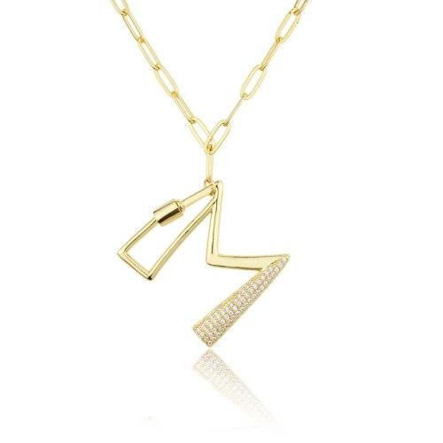 INS Cross-Border Screw Buckle 26 Letter Necklace 2021 New Combination Diamond English Pendant Wholesale