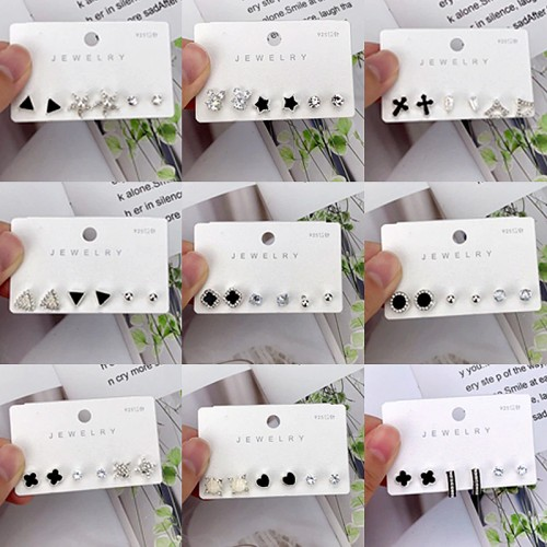 INS Korean Style 925 Silver Stud Earrings Women's Refined And Simple Suit Fashion Inlaid Zirconium Love Geometric Earrings