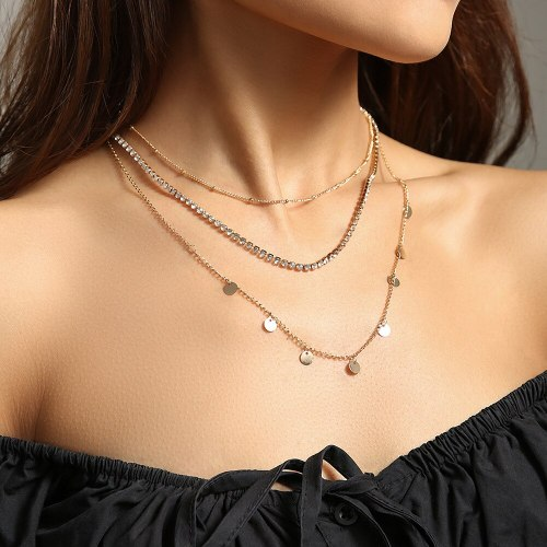 Foreign Trade Necklace Multi-Layer Niche Design Necklace Diamond Claw Chain Necklace Dignified Pendant Simple Women's Jewelry