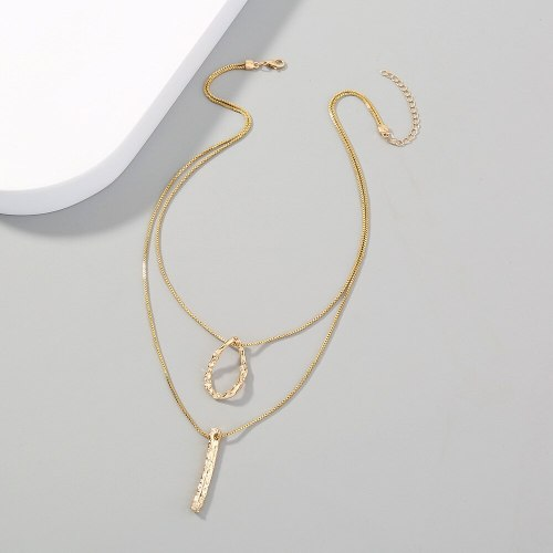 Simple Necklace Ins Hip Hop Special-Interest Design Metal Pendant Clavicle Chain Geometric Double-Layer All Match Necklace