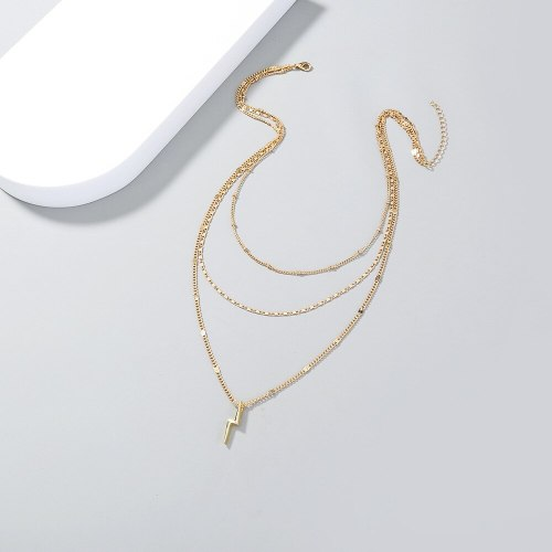 fashion Ins Style Retro Clavicle Chain Fashion New Women's Multi-Layer Personalized Lightning Pendant Necklace