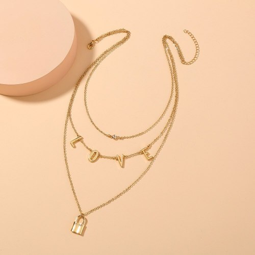 Hot Selling Metal Love Lock Twin Necklace Ins Trendy Light Luxury Temperament Women's Multi-Layer Necklace Clavicle Chain