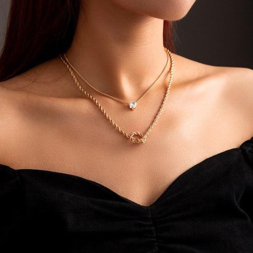 FashionCross Border New Niche Design Temperamental Cold Style Multi-Layer Twin Necklace Simple Zircon Clavicle Chain