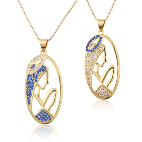 INS Diamond-Embedded Oval Virgin Necklace fashion Simple Men's And Women's Zircon Copper Plating Art Pendant