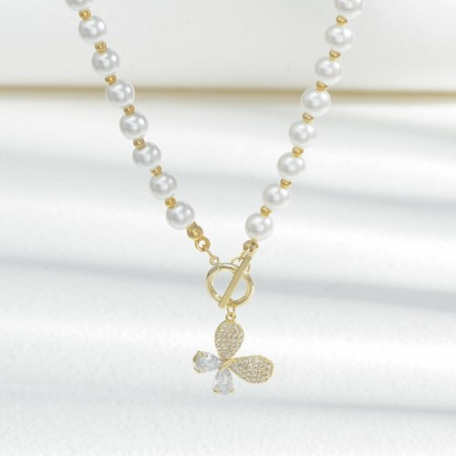 2021 New Butterfly Pearl Necklace Women's Exquisite High-Grade Clavicle Chain Korean Fashion All-Matching Necklace Jewelry