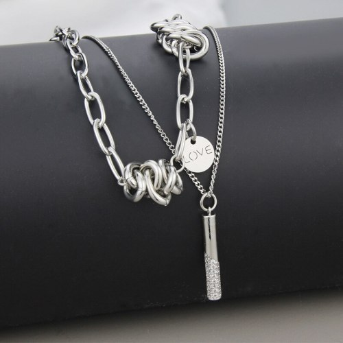 Double-Layer Necklace Women's Niche Design Necklace Ins Cold Style Hip Hop Clavicle Chain Sweater Sweater Chain
