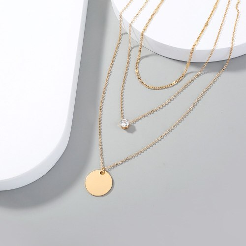 FashionCross Border Popular Fashion New Women's Multilayer Simplicity Round Plate Pendant Necklace Ins Style Chain