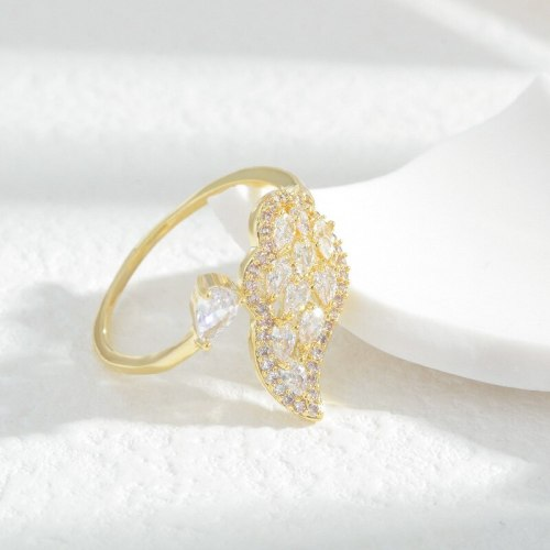 Angel Wings Series Ring Opening Adjustable Ins Style Girl Super Fairy Design Sense Micro Inlaid Index Finger Ring Simple