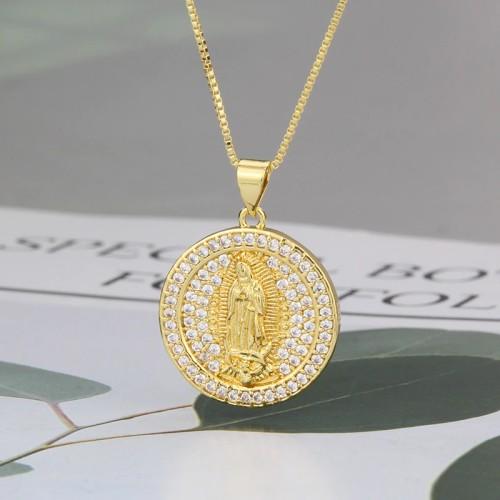 INS Round Diamond Virgin Necklace fashion Simple Zircon Religious Pendant Fashion Ornament