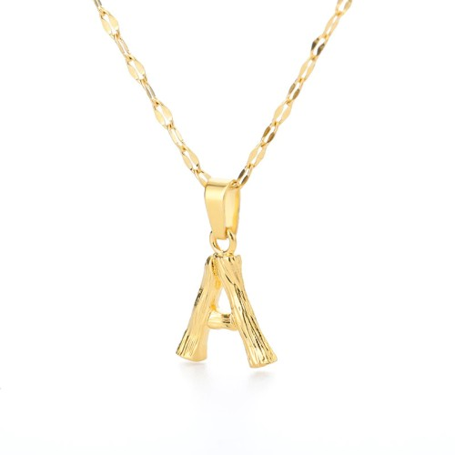 New English Letter Necklace Men's And Women's Stainless Steel Bamboo Letter Pendant Imitation Wood Ornament