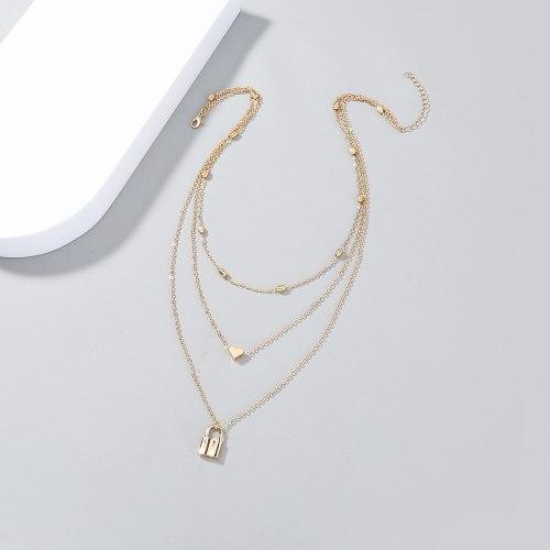 fashion Retro Fashion Multi-Layer Twin Simple Love Small Lock Pendant Necklace Ins Style Clavicle Chain Jewelry